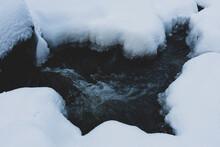Olterudelva River, Norway, In Winter.