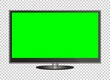 Realistic TV LCD screen mockup. Panel with green screen isolated on transparent background. Vector illustration