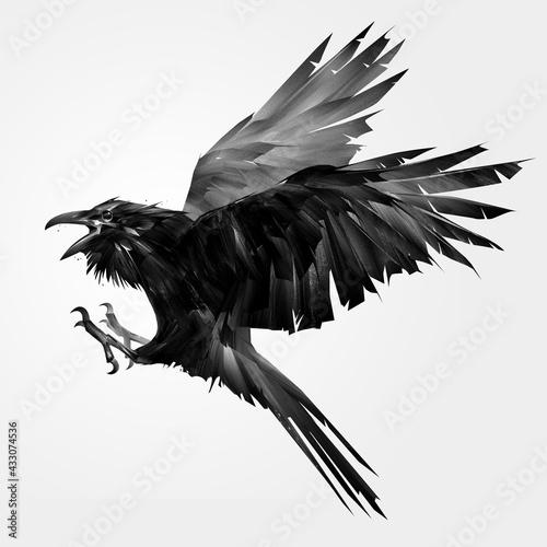 Naklejka premium painted monochrome bird raven in flight with open beak
