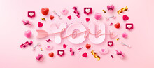 Love You Card Banner With Symbol Arrow Love Script You Word Valentine Elements Pink Background