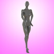 Leinwandbild Motiv A gray female faceless mannequin stands with twisted hands near her hips against a pink backlit background. 3d rendering