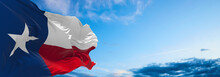 Flag Of Texas At Cloudy Sky Background On Sunset. Patriotic Concept About State. 3d Illustration