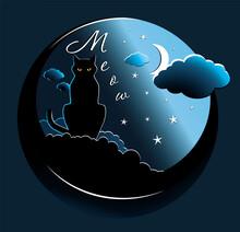 Vector Illustration Of A Night Cat
