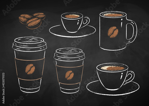 Collection of coffee cups - fototapety na wymiar