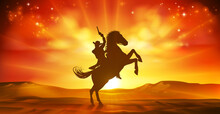 Cowboy Riding Horse Silhouette Sunset Background