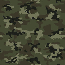 Abstract Camouflage Green Digital Background, Repeat Print, Camouflage, Forest And Hunting