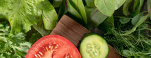 Banner With Different Types Of Salads And Cucumber, Red Tomato On A Wooden Surface. Young Juicy Sprouts Of Peas Or Beans, Beet Shoots And Green Salad. Healthy Food Concept.