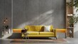 Leinwandbild Motiv Yellow sofa and a wooden table in living room interior with plant,concrete wall.