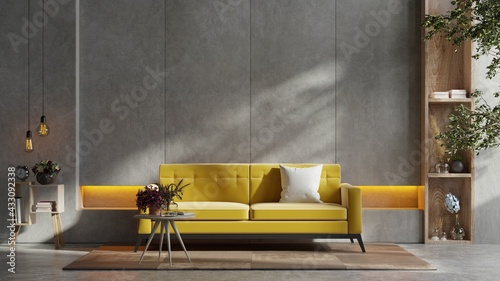 Fototapeta Yellow sofa and a wooden table in living room interior with plant,concrete wall. obraz