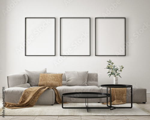 mock up poster frame in modern interior background, living room, minimalistic style, 3D render, 3D illustration