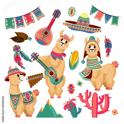 Naklejka premium Cute llamas. Funny alpaca animal in mexican clothes with guitar, mountains, cactus and festive flag garland, chile traditional pattern vector set. Ethnic elements, plants and musical instruments