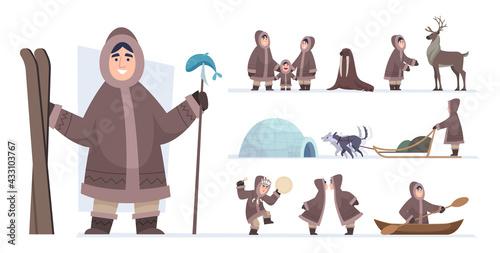 Obraz na plátně Ethnic eskimo people