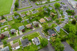 Wide panorama, aerial view with tall buildings, in the beautiful residential quarters Bensalem town Pennsylvania