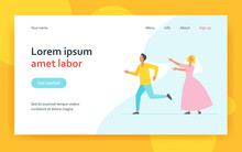 Groom Man Running From Bride Woman In Wedding Dress. Married Couple Flat Vector Illustration. Marriage, Wedding Party, Newlyweds Concept For Banner, Website Design Or Landing Web Page