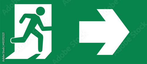 Fotografie, Obraz Vector Green emergency exit sign for the way to escape