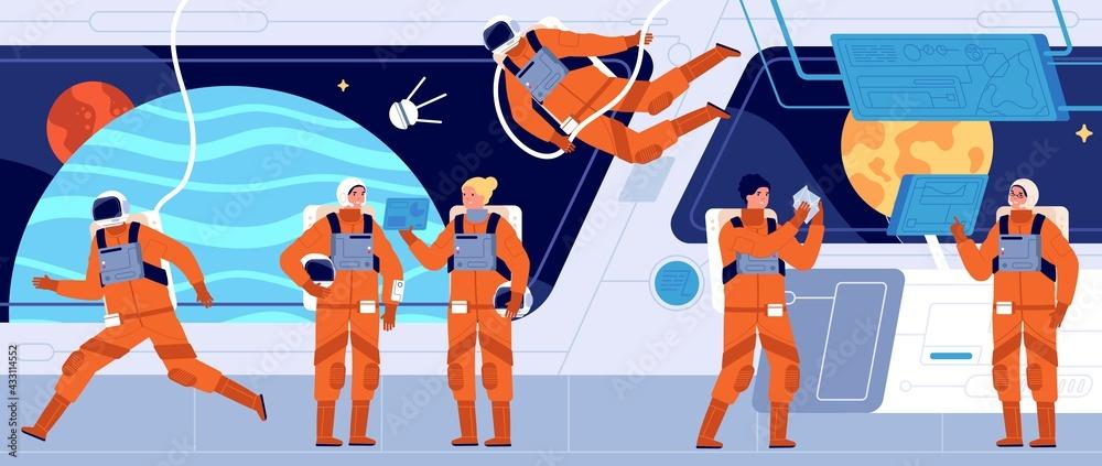 Obraz Spaceship crew. Ship station interior, spacecraft cabin dashboard and engineer. Interstellar woman astronaut or cosmonaut utter vector concept fototapeta, plakat