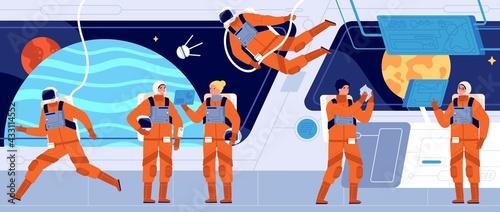 Fototapeta Spaceship crew. Ship station interior, spacecraft cabin dashboard and engineer. Interstellar woman astronaut or cosmonaut utter vector concept obraz