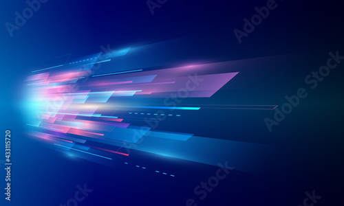 Modern abstract high-speed movement. Colorful dynamic motion on blue background. Movement sport pattern for banner or poster design background concept.