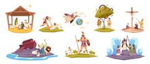 Bible Characters. Ancient Sacred Cult Book Characters, Holy Book Key Scenes, Christ Birth In Manger, Virgin Mary, World Flood, Adam And Eve In Garden Of Paradise, Cain And Abel Vector Set