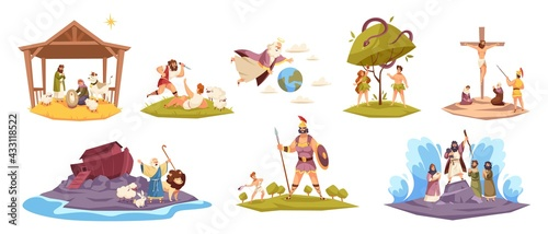 Fototapeta Bible characters. Ancient sacred cult book characters, holy book key scenes, Christ birth in manger, virgin Mary, world flood, Adam and Eve in garden of paradise, Cain and Abel vector set obraz