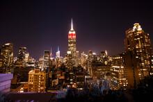 Panorama Amerika USA New York NYC NY Urbane Großstadt Mit Wolkenkratzern Bei Sonnenuntergang Sonnenaufgang Chicago Hintergrund Bildschirmschoner