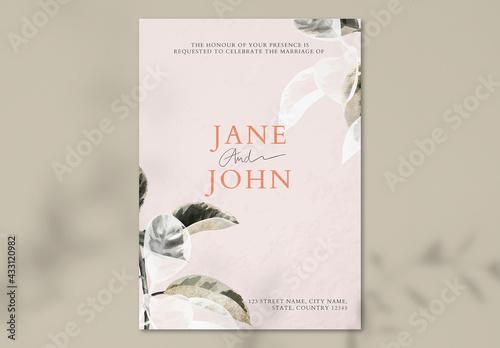 Pink Leafy Wedding Invitation Card Layout - fototapety na wymiar
