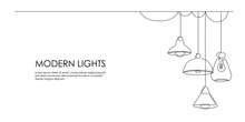 Set Of Loft Lamps And Iron Lampshades In One Line Drawing. Horizontal Banner In Minimalistic Industrial Style. Vector Illustration Of Hanging Vintage Chandelier And Pendant Lamps With Edison Bulbs
