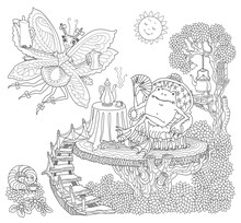 Fairy Tale Butterfly Pixie Women With Coffee Pot And Funny Happy Frog In Arm-chair Drinking Coffee. Linear Black And White Doodle Sketch. Adults Coloring Book Page, Poster, Café Menu Book Cover