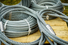 Clean New Steel Rope Wire, Coiled Steel Cable.