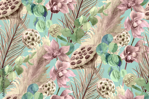 Canvastavla delicate vintage watercolor seamless pattern with branches of palm and orchid on