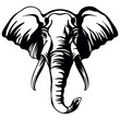 Vector head of mascot elephant head isolated on white