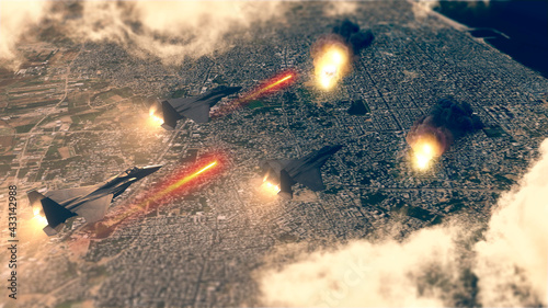 Israeli air raid on the Gaza Strip, Palestine. Gaza city. Combat aircraft bombing sensitive targets within the Gaza Strip. Explosions caused by missiles. Satellite view. 3d render - fototapety na wymiar
