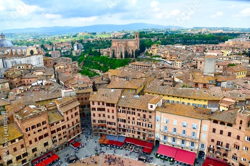 Naklejka premium Aerial View of the Piazza del Campo in Siena Italy #1