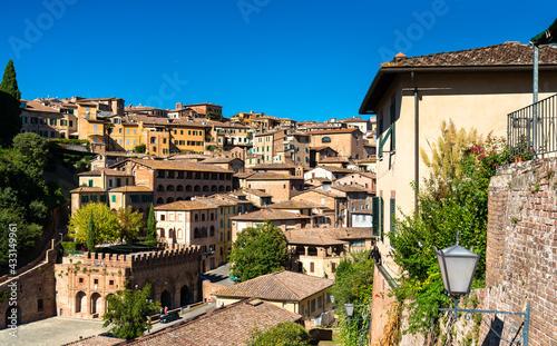 Naklejka premium View of the medieval city of Siena in Italy