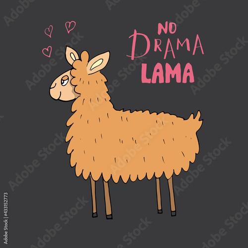 Naklejka premium Cute Lama with lettering no drama Lama Cartoon Animal baby and children print design Vector Illustration