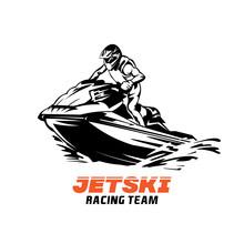 Jetski Racing Vector Illustration Design, Perfect For Event Logo And Tshirt Design