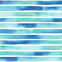 Seamless Repeatable Pattern Of Blue Watercolor Stripes With Various Shades. Beautiful Backdrop For Creative Design, Print, Banner, Card, Poster. Hand Drawn Water Color Artistic Illustration On White.