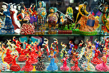Famous Spanish Handcrafted Souvenirs Flamenco Dancers Figurines Displayed In Shop For Sale