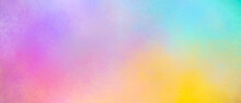 Colorful Watercolor Background Puffy Clouds In Bright Rainbow Colors Of Orange Yellow Blue And Purple