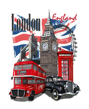 London Typography For T-shirt Print With Big Ben,retro Car,bus And Red Phone Booth.