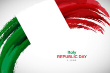 Happy Republic Day Of Italy With Watercolor Brush Stroke Flag Background With Abstract Watercolor Grunge Brush Flag