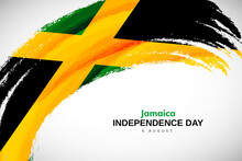 Happy Independence Day Of Jamaica With Watercolor Brush Stroke Flag Background With Abstract Watercolor Grunge Brush Flag