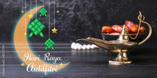 Fototapeta Greeting card for Eid al-Fitr (Festival of Breaking the Fast) celebration obraz