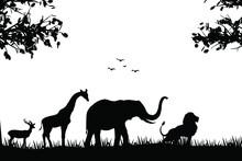 The Silhouette Of Lion, Giraffe, Deer, Elephant, Forest Background Illustration. Wild Animals Silhouette Vector Art.