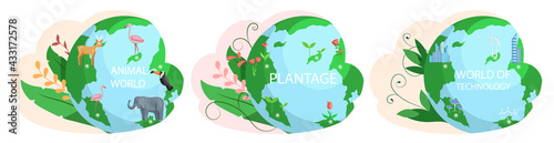 Fototapeta Set of illustrations about Earth animal world, plantage, technology. Biodiversity, conservation of nature and environmental protection concept. Different plants, animals and electronic devices obraz