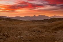 Beautiful Sunset In The Sinai Desert, Egypt.