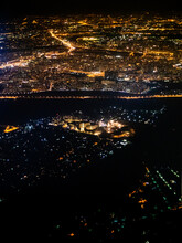 Aerial View Of Suburbs Of Moscow City At Night