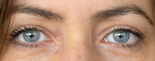 Close Up On The Grey Blue Eyes Of A Middle-aged Woman