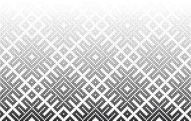 Seamless halftone vector background.Middle fade out. 96 figures in height.
