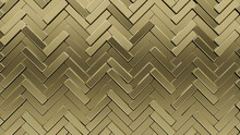 Luxurious, 3D Wall Background With Tiles. Polished, Tile Wallpaper With Gold, Herringbone Blocks. 3D Render